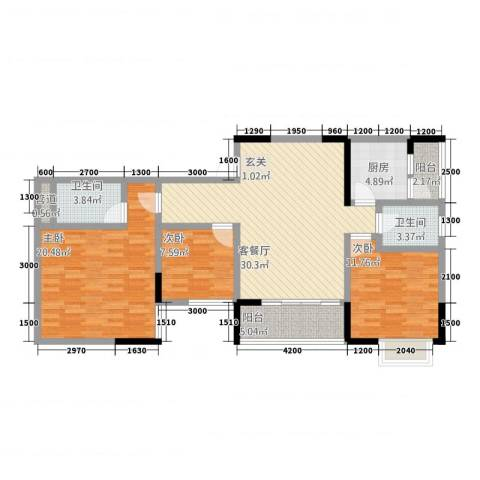 三峡明珠大厦3室1厅2卫1厨311.00㎡户型图