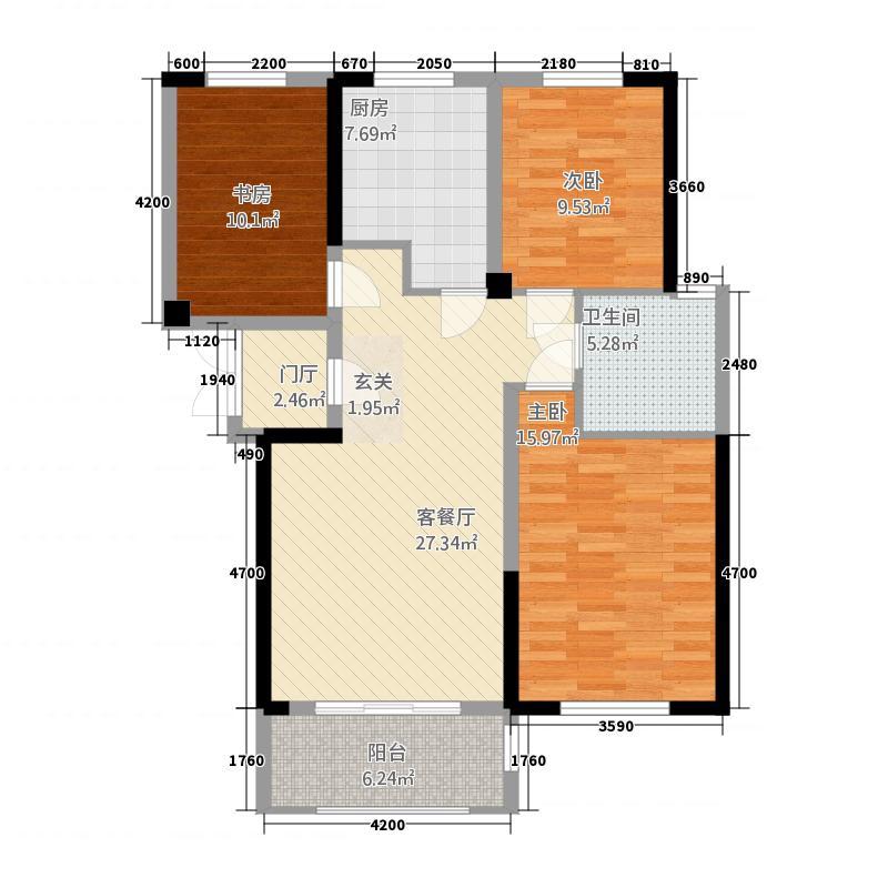南越・上东郡113.20㎡南越上东郡3-2-1-户型3室2厅1卫1厨