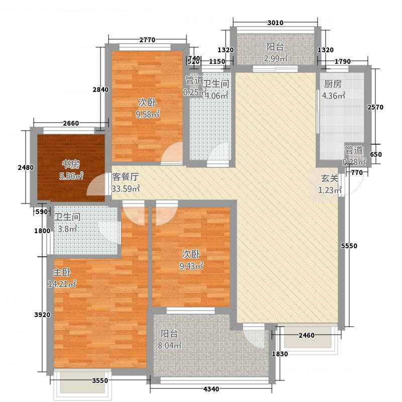 多彩城125.20㎡B户型4室2厅2卫1厨