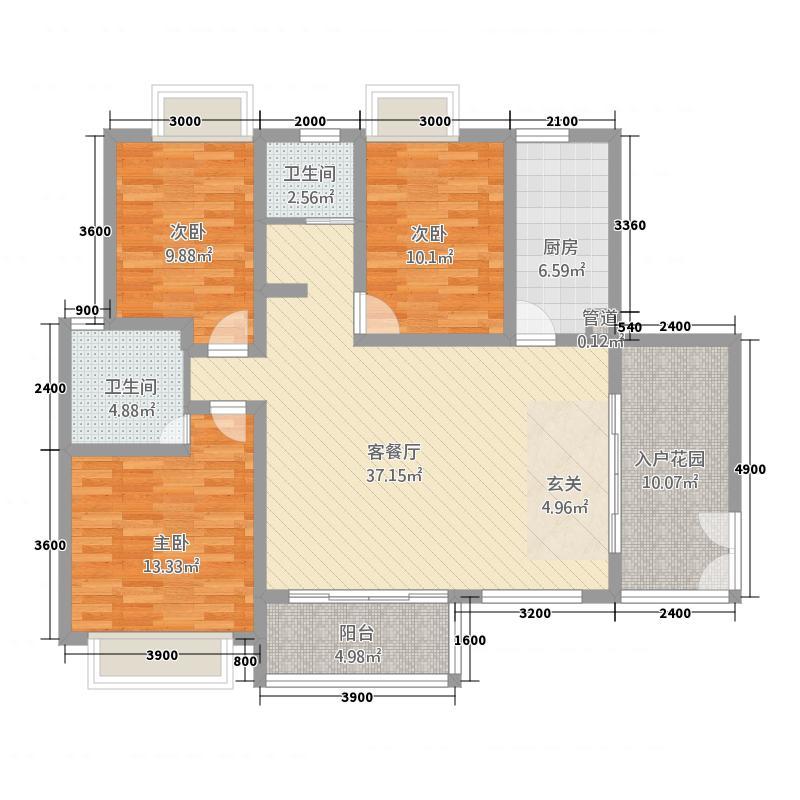 傣泐金湾三期悦江苑133.00㎡A1-户型3室2厅2卫1厨
