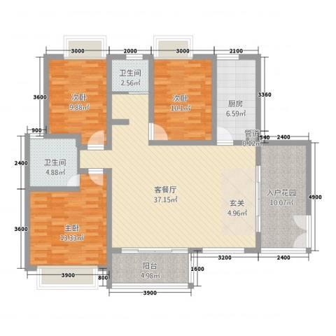 傣泐金湾三期悦江苑3室1厅2卫1厨133.00㎡户型图