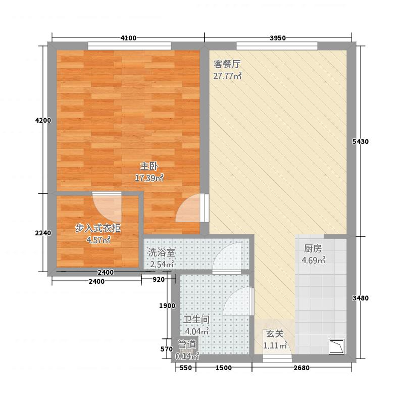 时代星城1283.28㎡J户型1室2厅1卫1厨