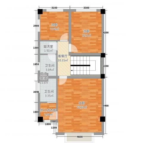 玉水金地・白沙墅3室2厅2卫0厨63.72㎡户型图