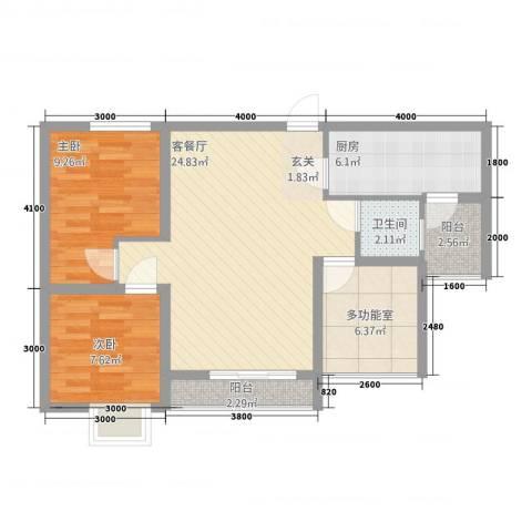 宏帆・观湖2室1厅1卫1厨278.00㎡户型图