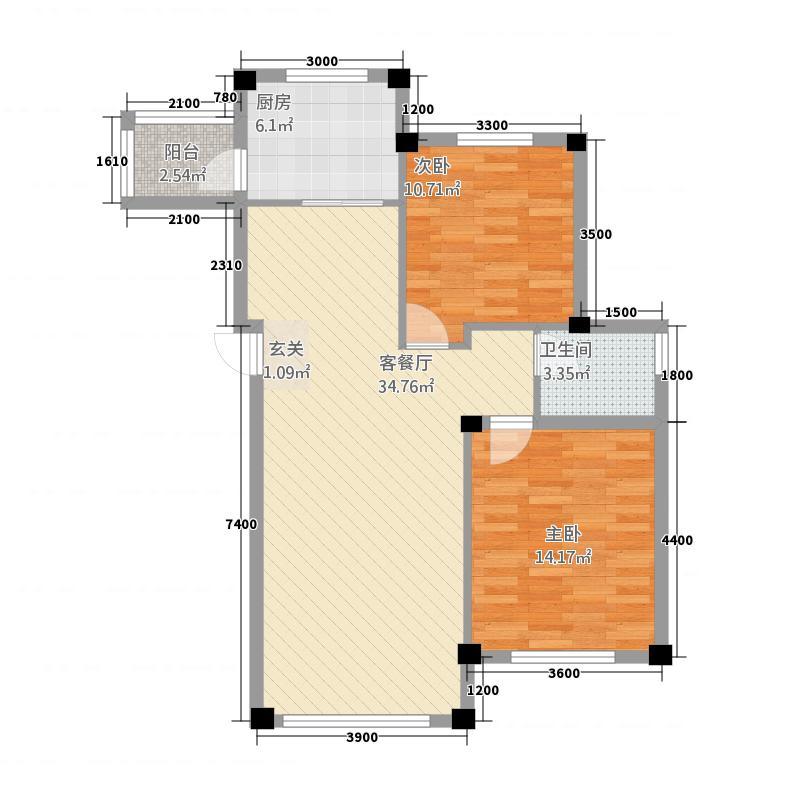 鼎盛水晶湾787.20㎡7号楼A户型2室2厅1卫1厨