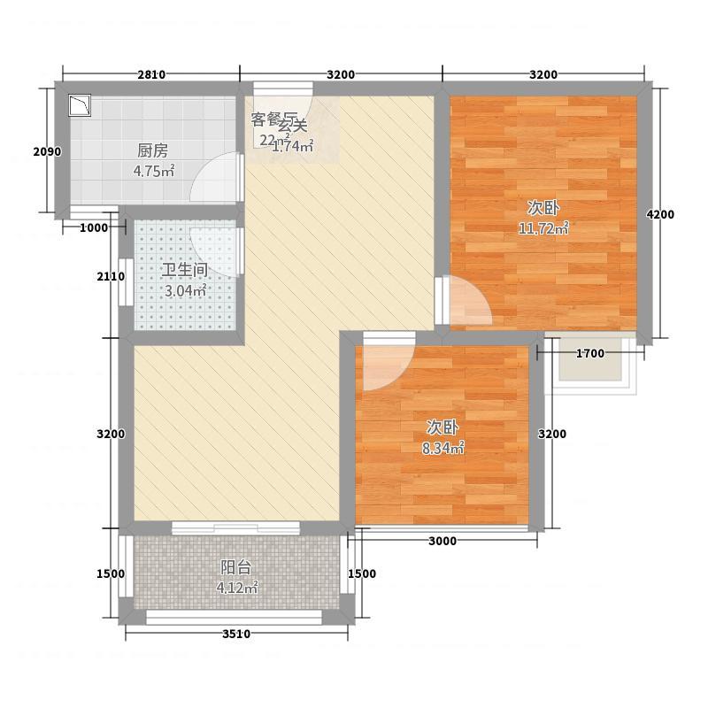 世宏城市广场74.51㎡D户型2室2厅1卫1厨