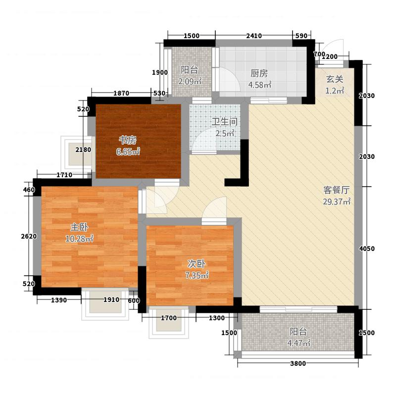 綦江金域蓝湾76.12㎡一期3号楼标准层B户型3室2厅1卫1厨