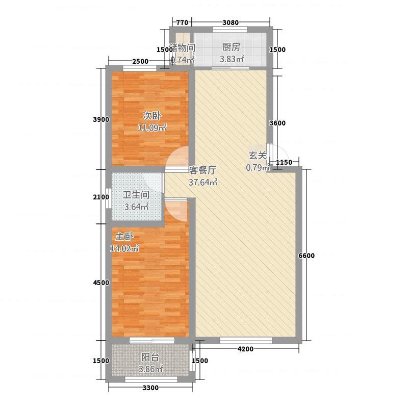 宏泰清水湾2.20㎡B户型2室2厅1卫1厨
