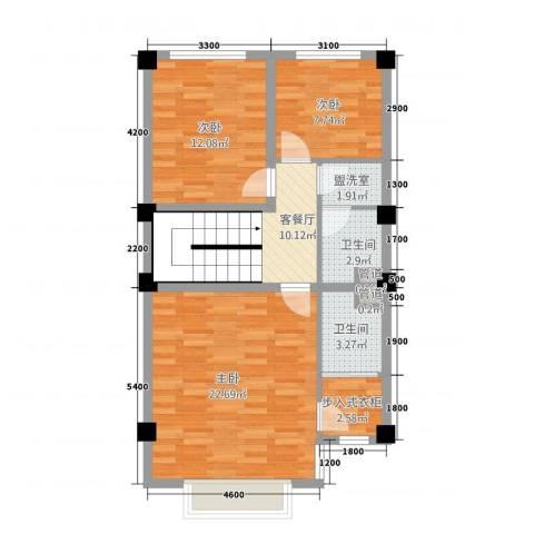 玉水金地・白沙墅3室2厅2卫0厨63.65㎡户型图