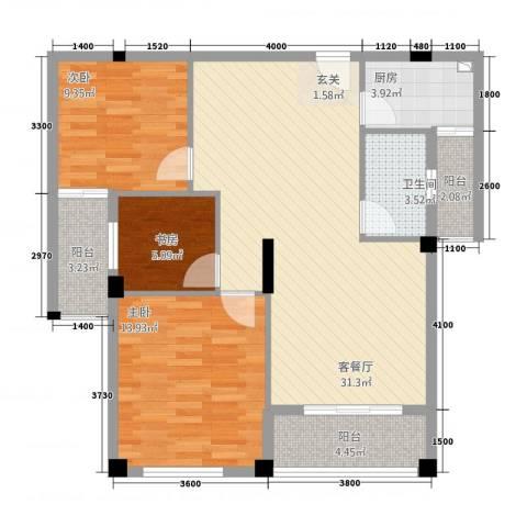 匹克奥林阳光3室1厅1卫1厨76.87㎡户型图