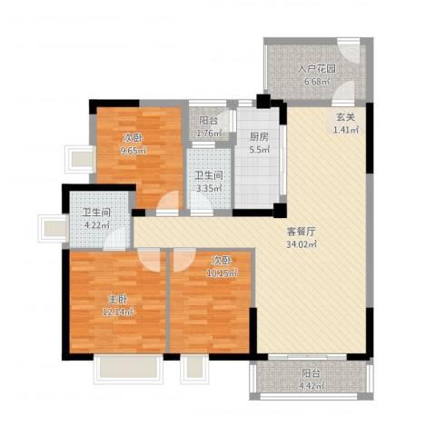 天林湖花园3室2厅2卫1厨132.00㎡户型图