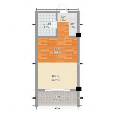 徽州庄园1厅1卫0厨35.12㎡户型图