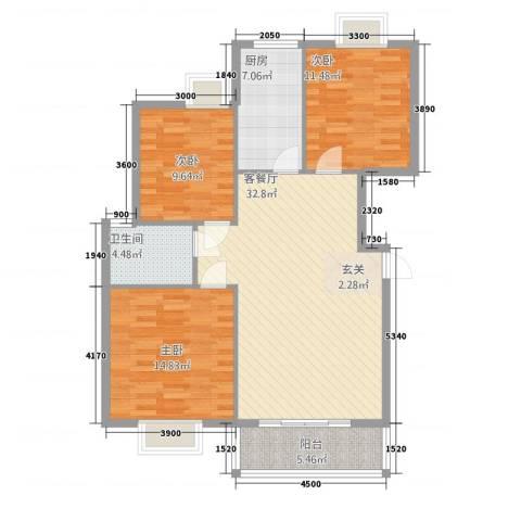 易居尚城3室1厅1卫1厨215.00㎡户型图
