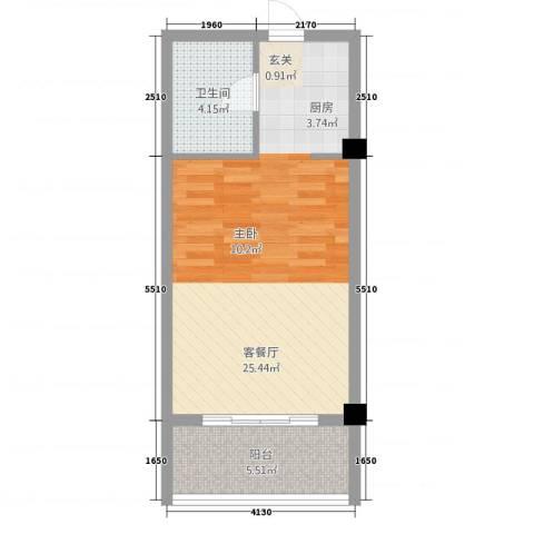 徽州庄园1厅1卫0厨35.13㎡户型图