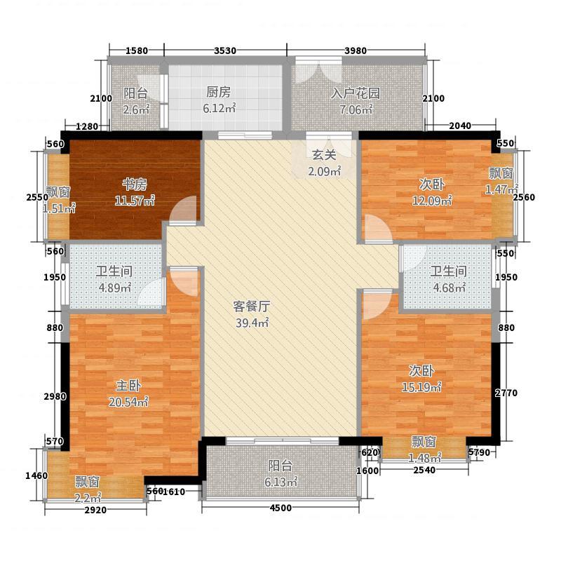 富力现代广场3155.82㎡一期3栋I户型4室2厅2卫1厨