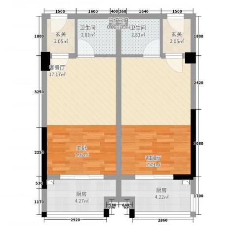 匹克奥林阳光2厅2卫2厨52.71㎡户型图