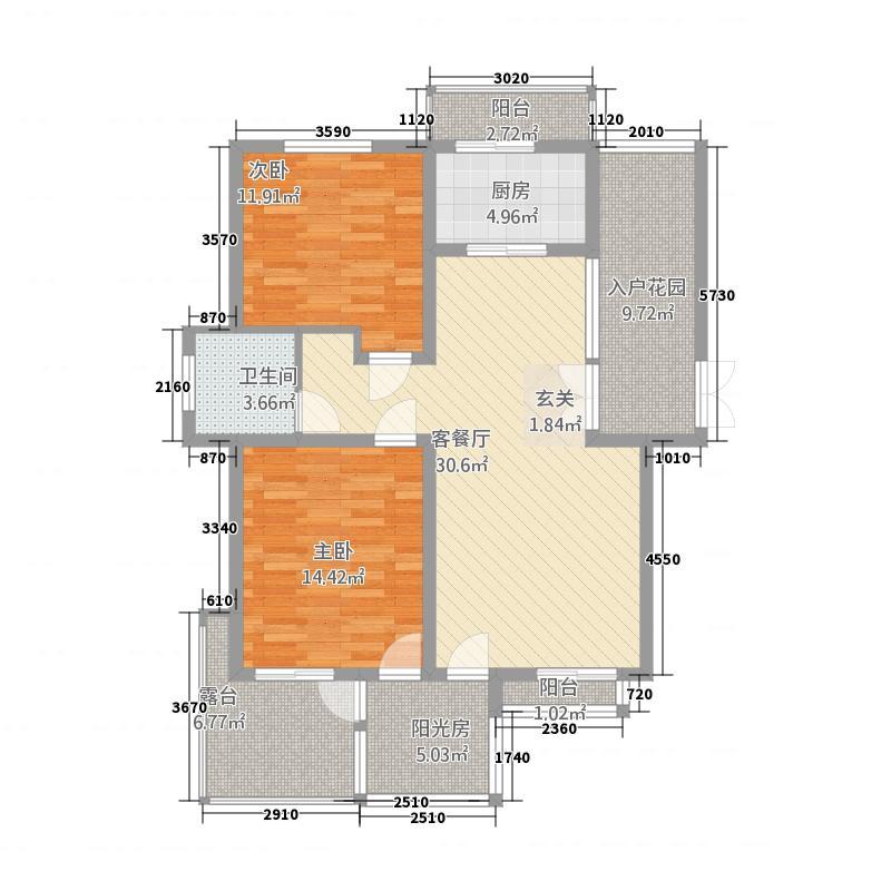 中森意墅蓝山131.88㎡五期偶数层西户户型2室2厅1卫1厨