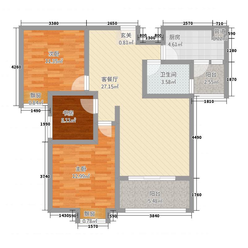 随州城东国际18.32㎡城东国际单张H户型3室2厅2卫1厨