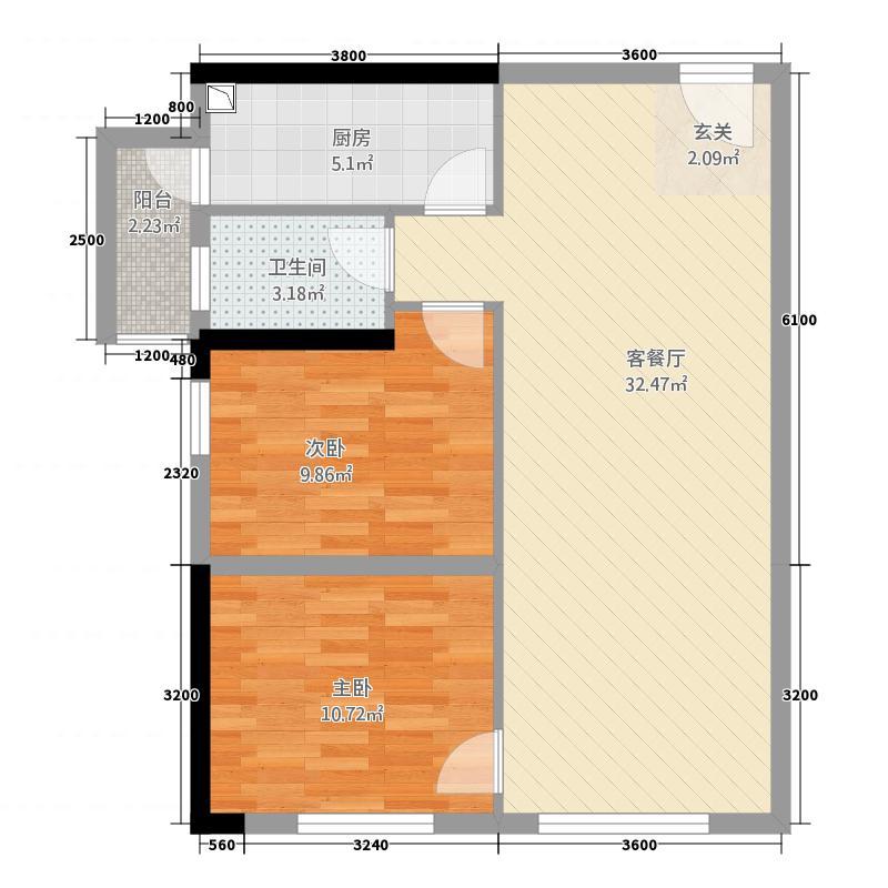 万千城45666.42㎡一期4、5、6、7号楼标准层B9-12户型1室2厅1卫1厨