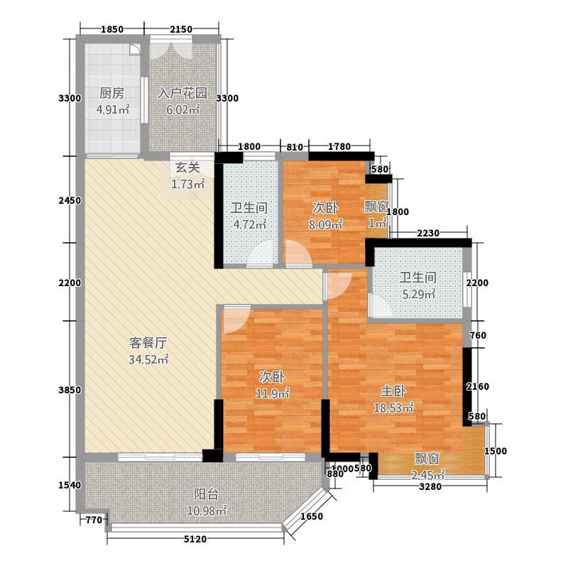 富力现代广场3121.20㎡一期3栋D户型3室2厅2卫1厨