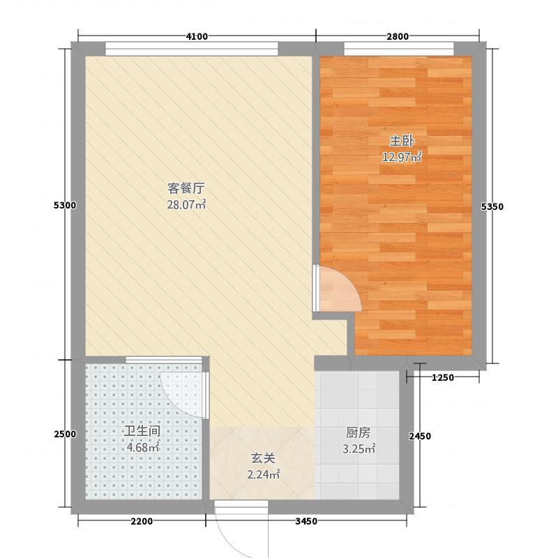 瑞港商务公寓41.20㎡A4户型1室1厅1卫1厨