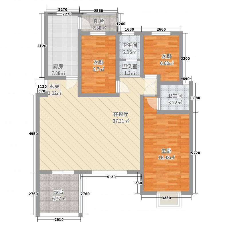 中森意墅蓝山53143.20㎡四期53#东1单元3层3室户型3室2厅2卫1厨