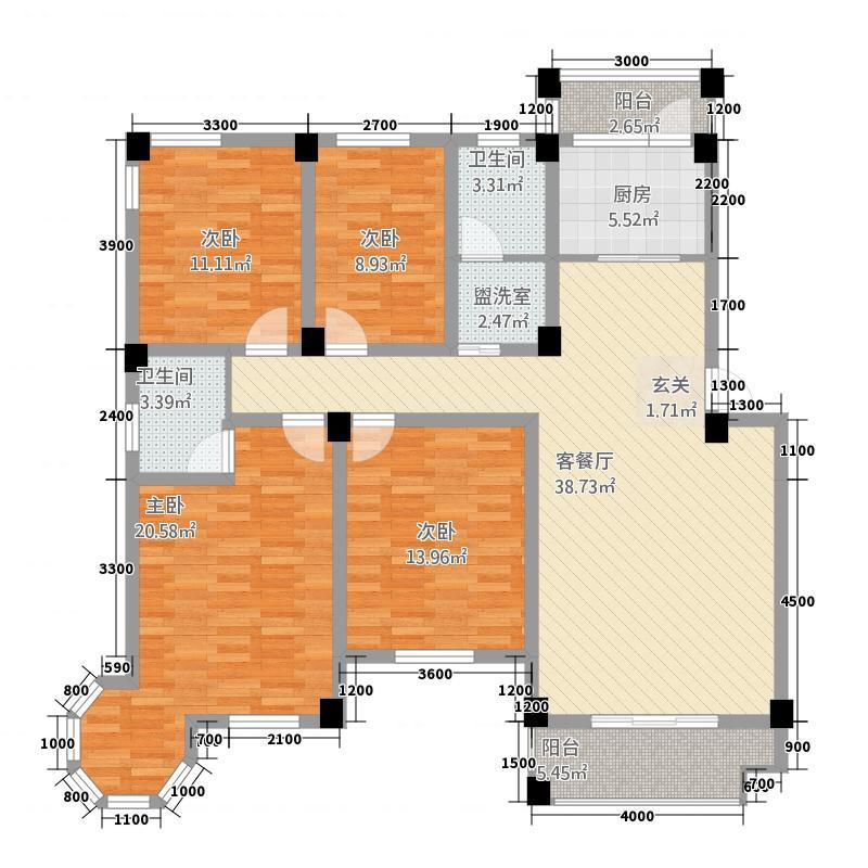 维多利亚花园1143.72㎡A1奢华府邸户型4室2厅2卫1厨