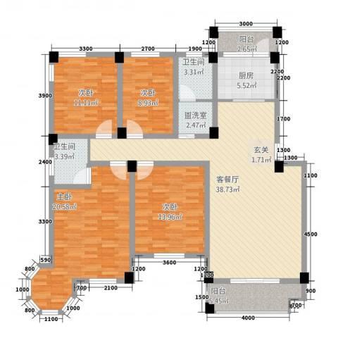 维多利亚花园4室2厅2卫1厨1144.00㎡户型图