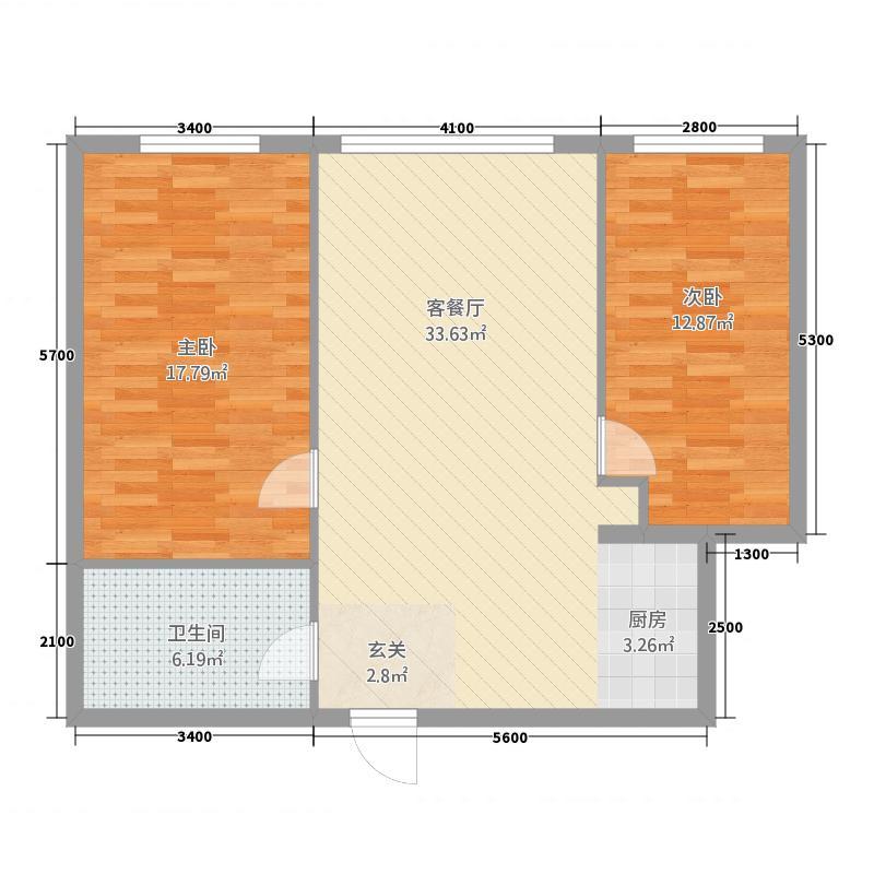 瑞港商务公寓32.20㎡A3户型2室2厅1卫1厨