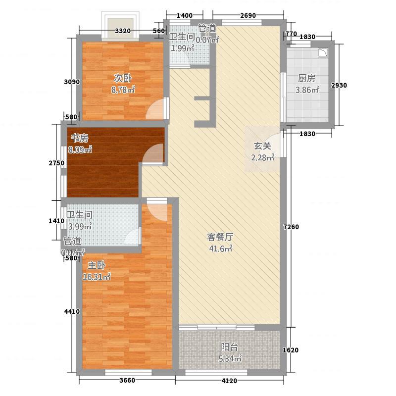 四季香榭3213.20㎡D户型3室2厅2卫1厨