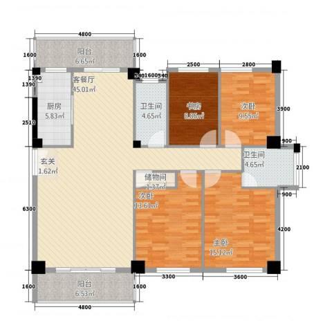 匹克奥林阳光4室1厅2卫1厨121.82㎡户型图