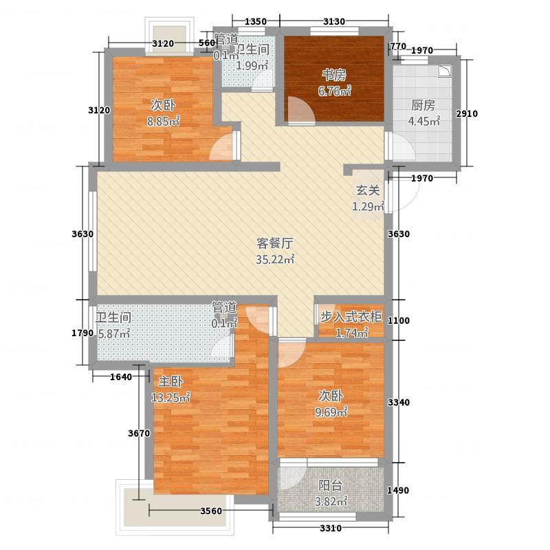 四季香榭42133.20㎡E户型4室2厅2卫1厨