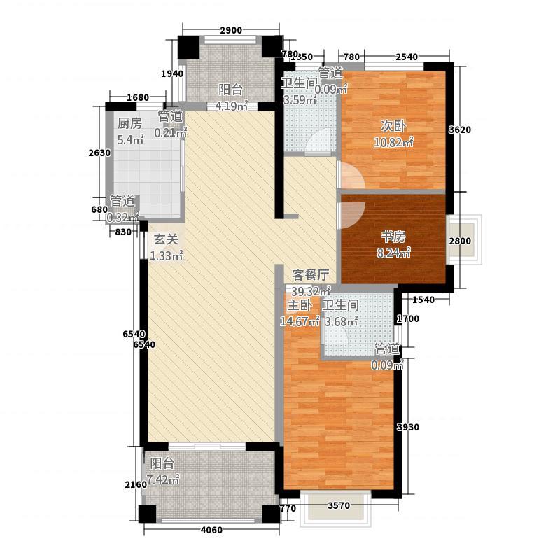 郑州国瑞城114.20㎡二期B1户型3室2厅2卫1厨