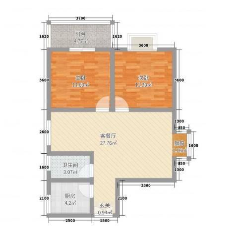 凯翔花园2室1厅1卫1厨62.73㎡户型图