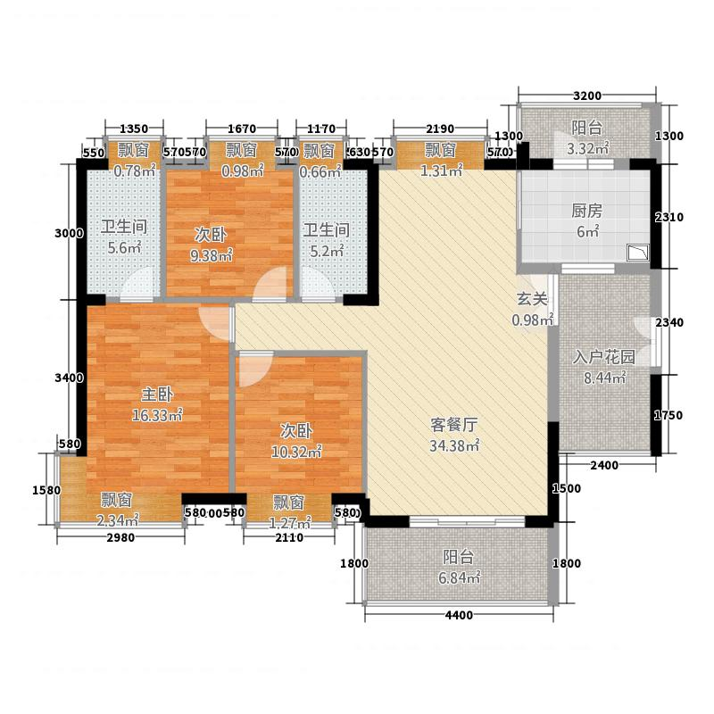 富力现代广场3121.62㎡一期3栋C户型3室2厅2卫1厨