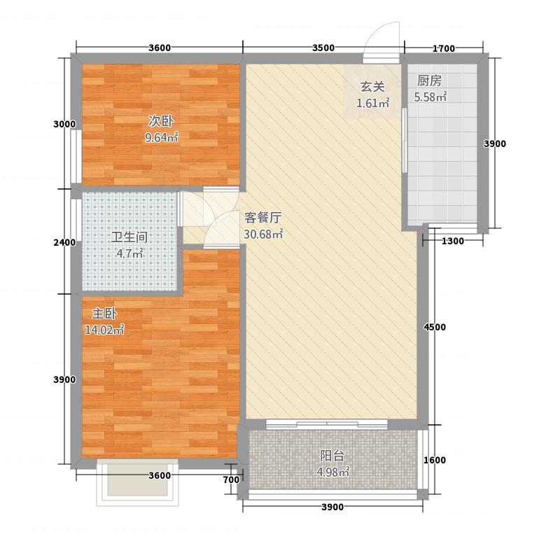 公园壹号221.82㎡A2户型2室2厅1卫1厨
