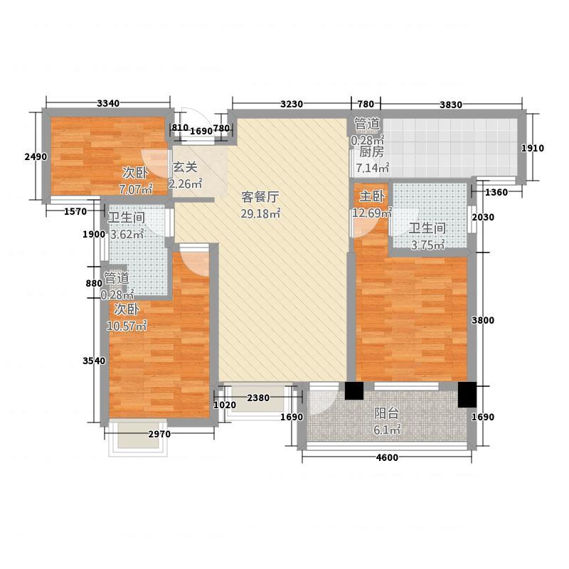 多彩城11.20㎡C户型3室2厅2卫1厨