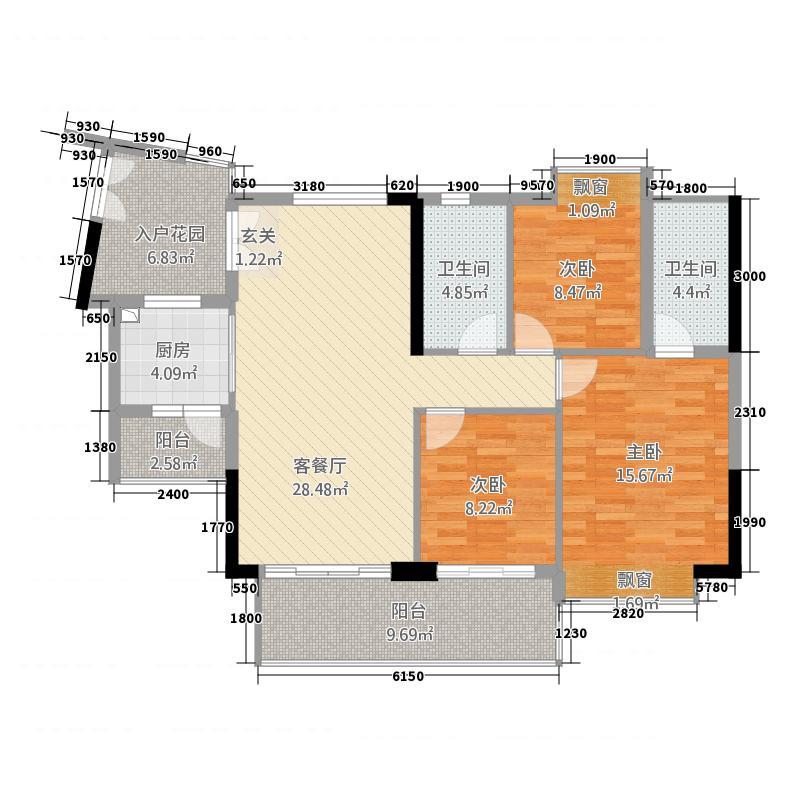 富力现代广场3.32㎡一期3栋B户型3室2厅2卫1厨
