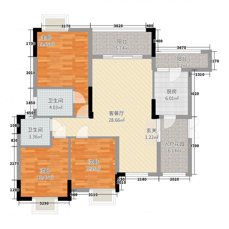 金九城115.41㎡江景洋房B中间层户型3室2厅2卫1厨