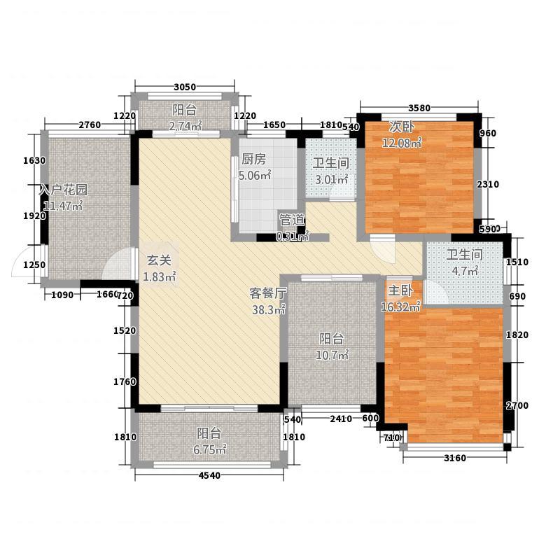 华剑紫金城12133.12㎡B1户型2室2厅2卫1厨
