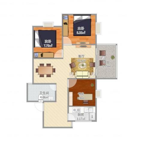 富丽花城C103室1厅1卫1厨81.00㎡户型图