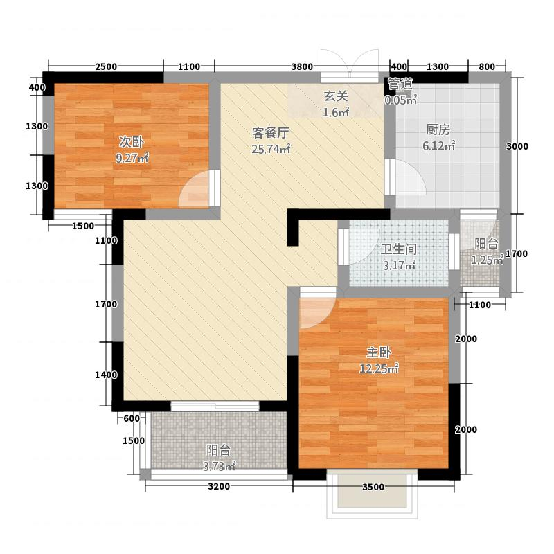海纳国际1.20㎡户型1室1厅1卫1厨