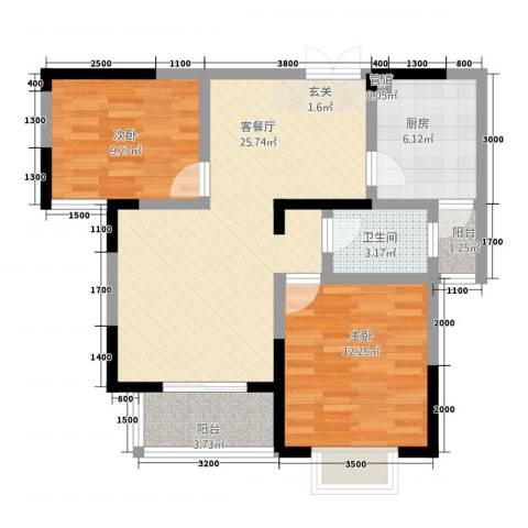海纳国际2室1厅1卫1厨61.58㎡户型图