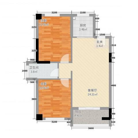匹克奥林阳光2室1厅1卫1厨59.54㎡户型图