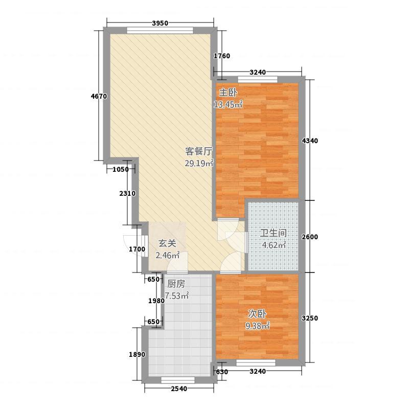 瑞达锦华公馆8.11㎡户型2室1卫1厨