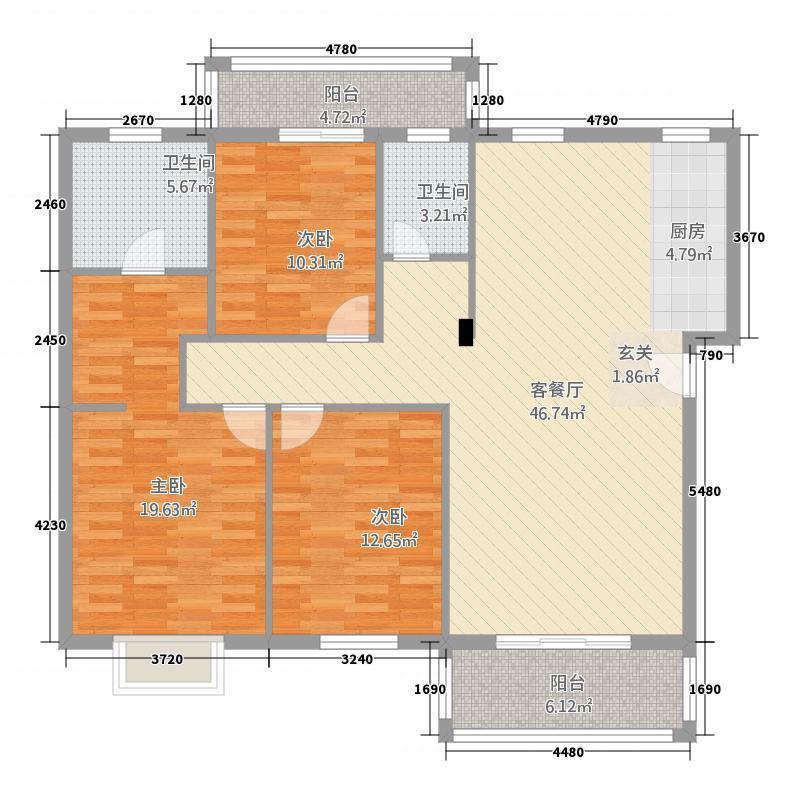 顺邦香格里花园23125.20㎡户型3室2厅2卫1厨