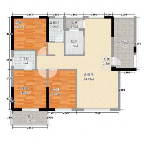 天下城市星座二期3室1厅2卫1厨112.00㎡户型图