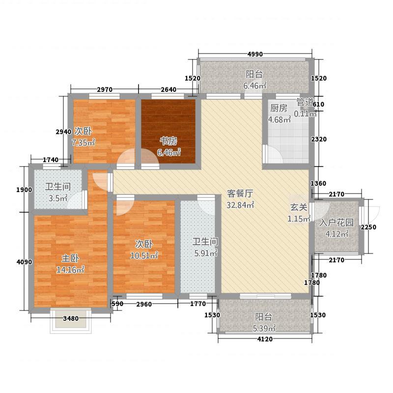 川硐教育园区135.22㎡怡馨苑户型4室2厅2卫1厨