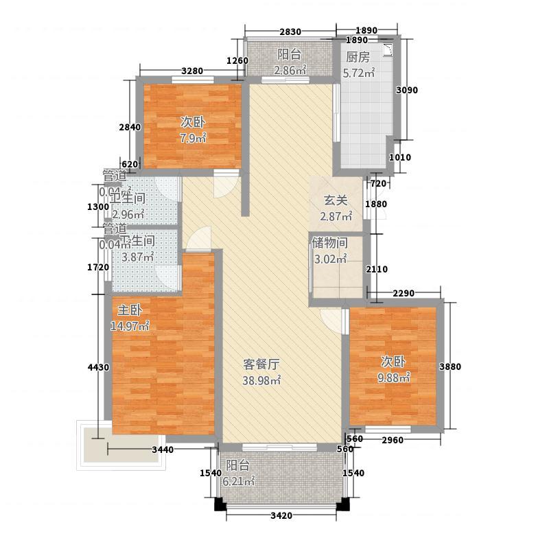 翡翠园3213.20㎡T户型3室2厅2卫1厨