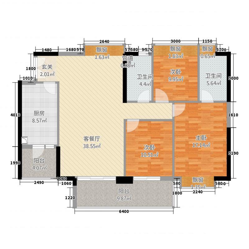 富力现代广场25122.20㎡D2栋05户型3室2厅2卫1厨